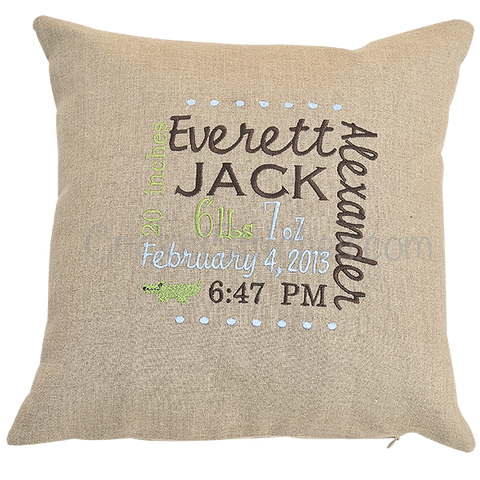 custom embroidered linen birth announcement pillow