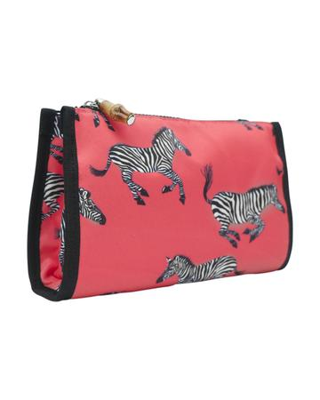 Coral Zebra Make Up Bag