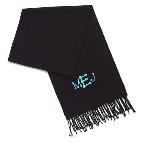monogrammed cashmere like scarf