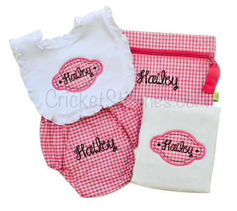 Personalized Bib, Burp Cloth, Bloomer & Bag Set