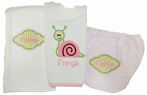 personalized bib, burp cloth and bloomer set