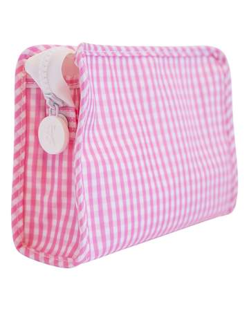pink gingham roadie bag