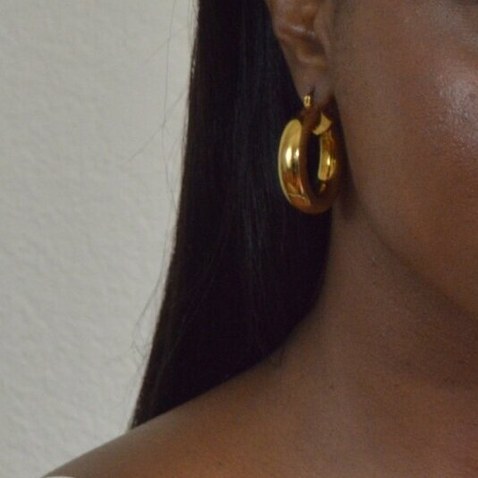Thick Hoop Earrings - 18K GF