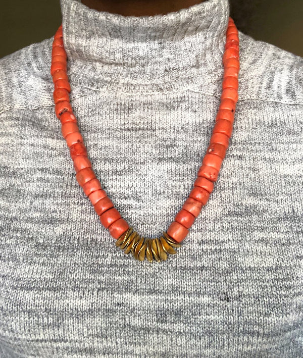 Yemi Orange Coral Disc Necklace