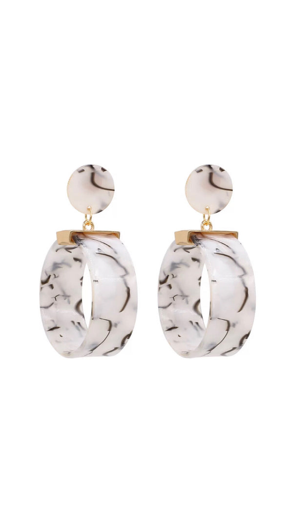 White Globe Earrings