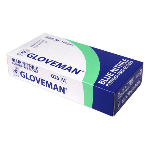 100x Gloveman G35 Powder Free Blue Nitrile Gloves - Large - Blitz Detailing