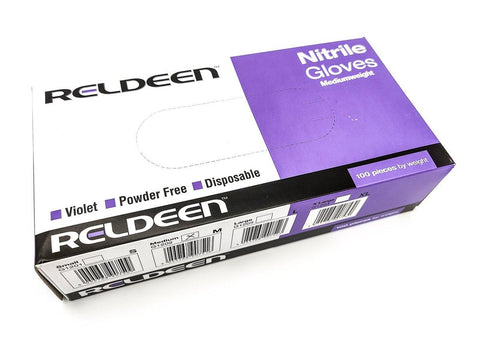 100x Reldeen G1201 Powder Free Violet/Purple Nitrile Gloves - Medium