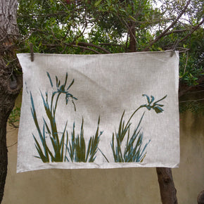 Kangaroo paw on oat-coloured tea towel