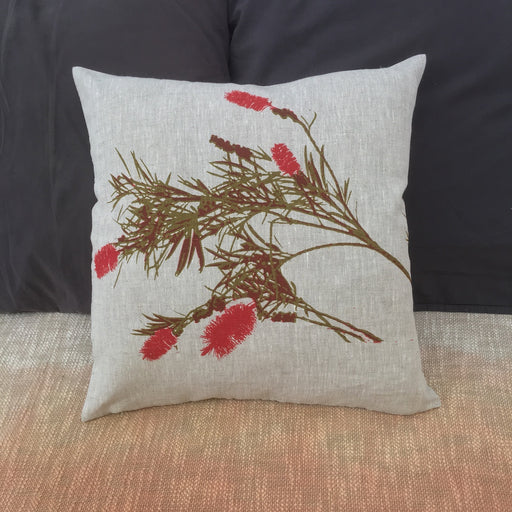 Photograph of Bottlebrush screenprinted on a linen tea towel.