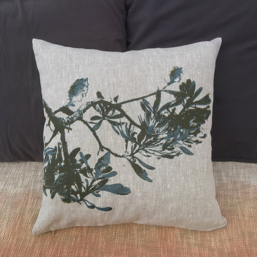 Photograph of a banksia branch screenprinted on a cushion cover.