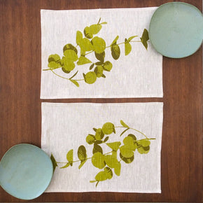 Photograph of eucalyptus leaves screenprinted on placemats.
