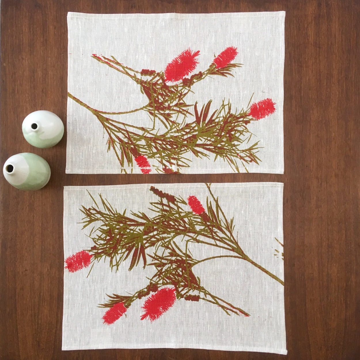 Photograph of Bottlebrush screenprinted on a linen placemats.