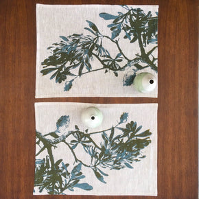 Photograph of a banksia branch screenprinted on placemats.
