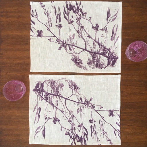 Photograph of a eucalyptus screenprinted on placemats.