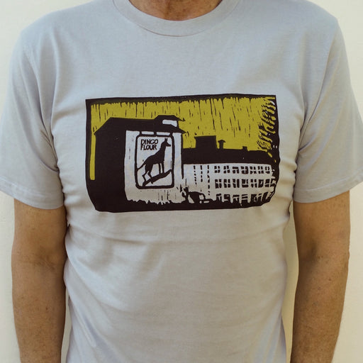 Photograph of screenprinted t-shirt depicting the Dingo Flour mill, Fremantle.