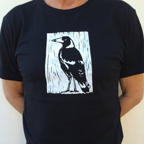Photograph of screenprinted t-shirt depicting an Australian Magpie.