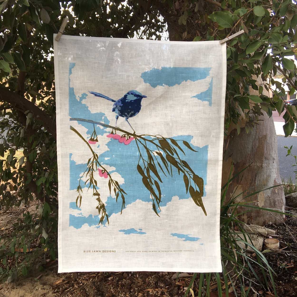 Blue wren on eucalyptus branch tea towel