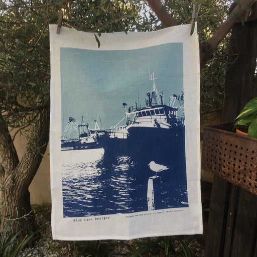 Photo of fishing boats at Fremantle, screenprinted on a linen tea towel.