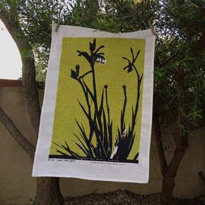 Photograph of a Western Australian kangaroo paw plant screenprinted on a tea towel.