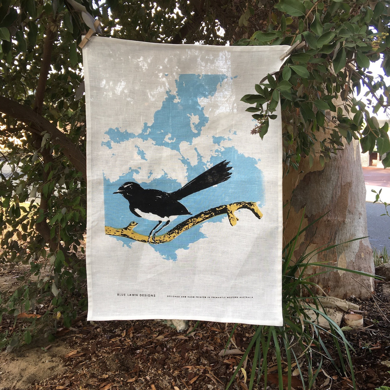 Willy wagtail tea towel