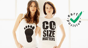 Image promoting carbon neutral t-shirt production.