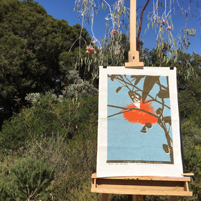 Photograph of a eucalyptus tea towel on an easel at Kings Park, Western Australia..