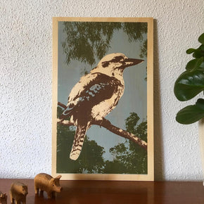 Photo of a Blue-winged Kookaburra screenprinted on plywood.