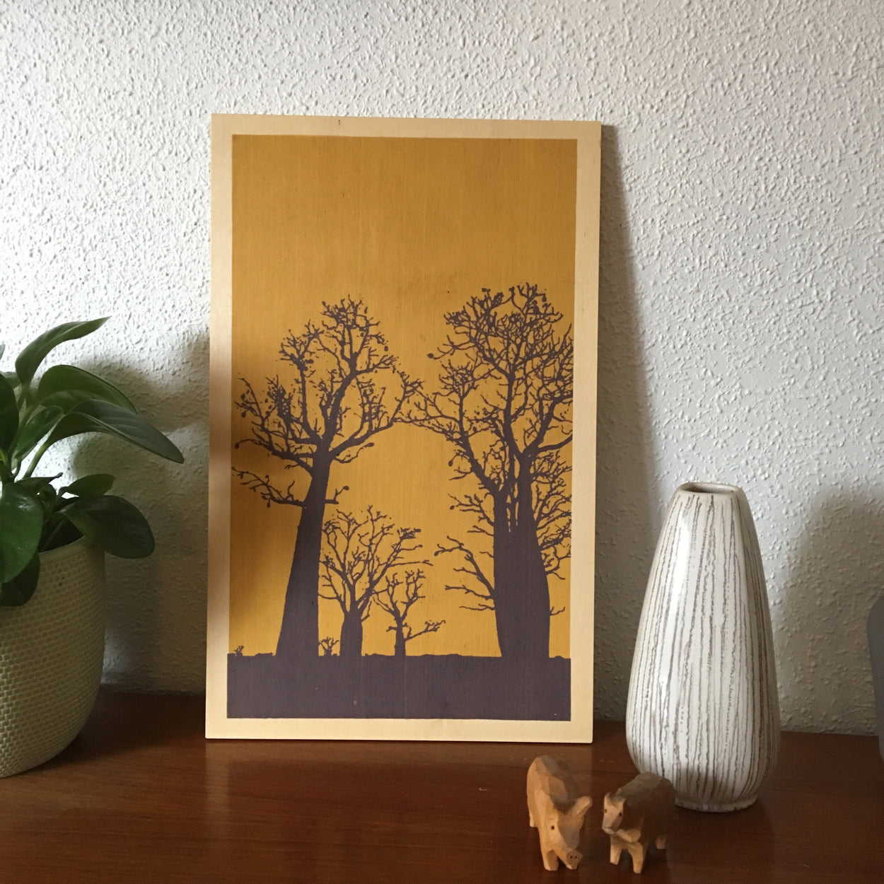 Photo of boab trees Kimberley, Western Australia screenprinted on plywood.