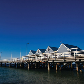 Photo of Busselton Jetty on Geographe Bay, Western Australia.