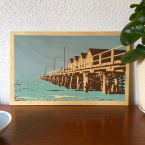 Photo of Busselton Jetty Geographe Bay Western Australia, screenprinted on plywood.