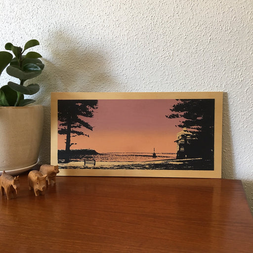 Photo of Cottesloe Beach, Western Australia screenprinted on plywood.