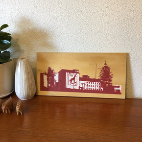 Photo of the Dingo Flour Mill, Fremantle screenprinted on plywood.