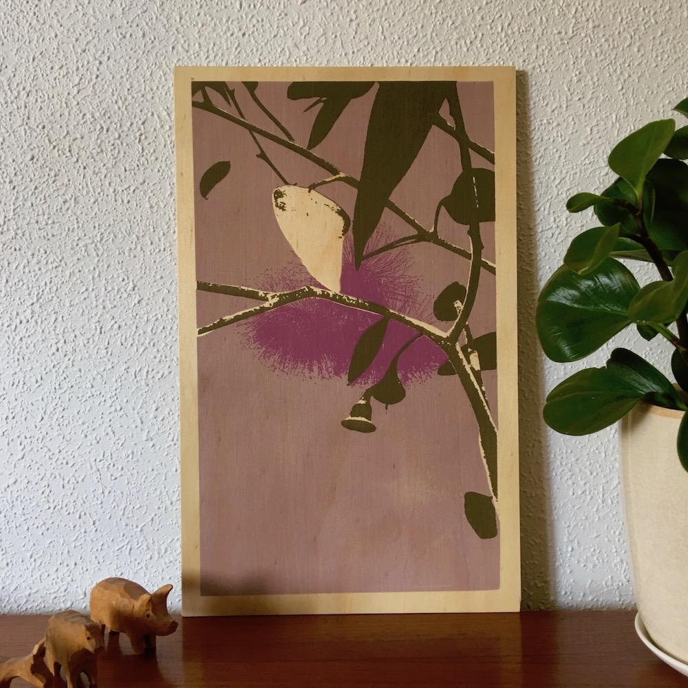 Photo of a Eucalyptus screenprinted on plywood.