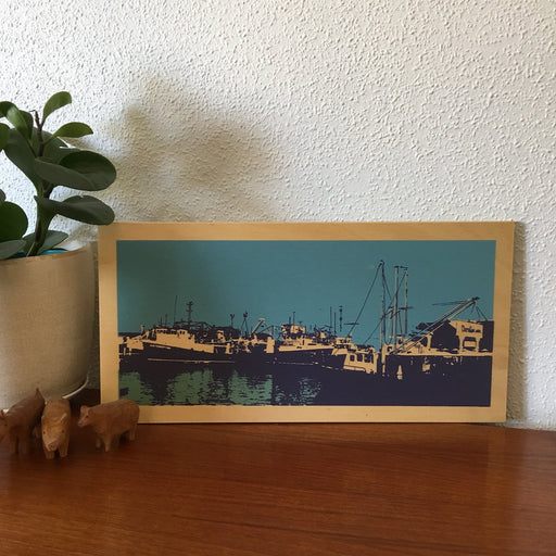 Photo of Fremantle's Fishing Boat Harbour screen printed on plywood.