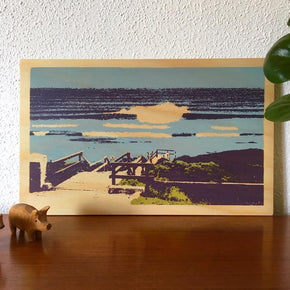 Photo of surf at Margaret River, Western Australia screenprinted on plywood.