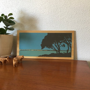 Photo of trees at Phillip Point, Rottnest Island screenprinted on plywood.