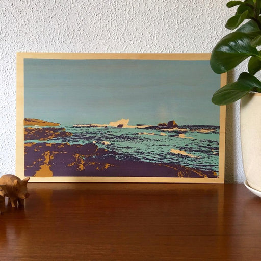 Photo of Redgate Beach, Western Australia screenprinted on plywood.