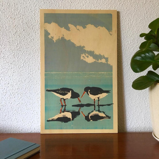 Photo of a shorebird, the Australian Pied Oystercatcher screenprinted on plywood.