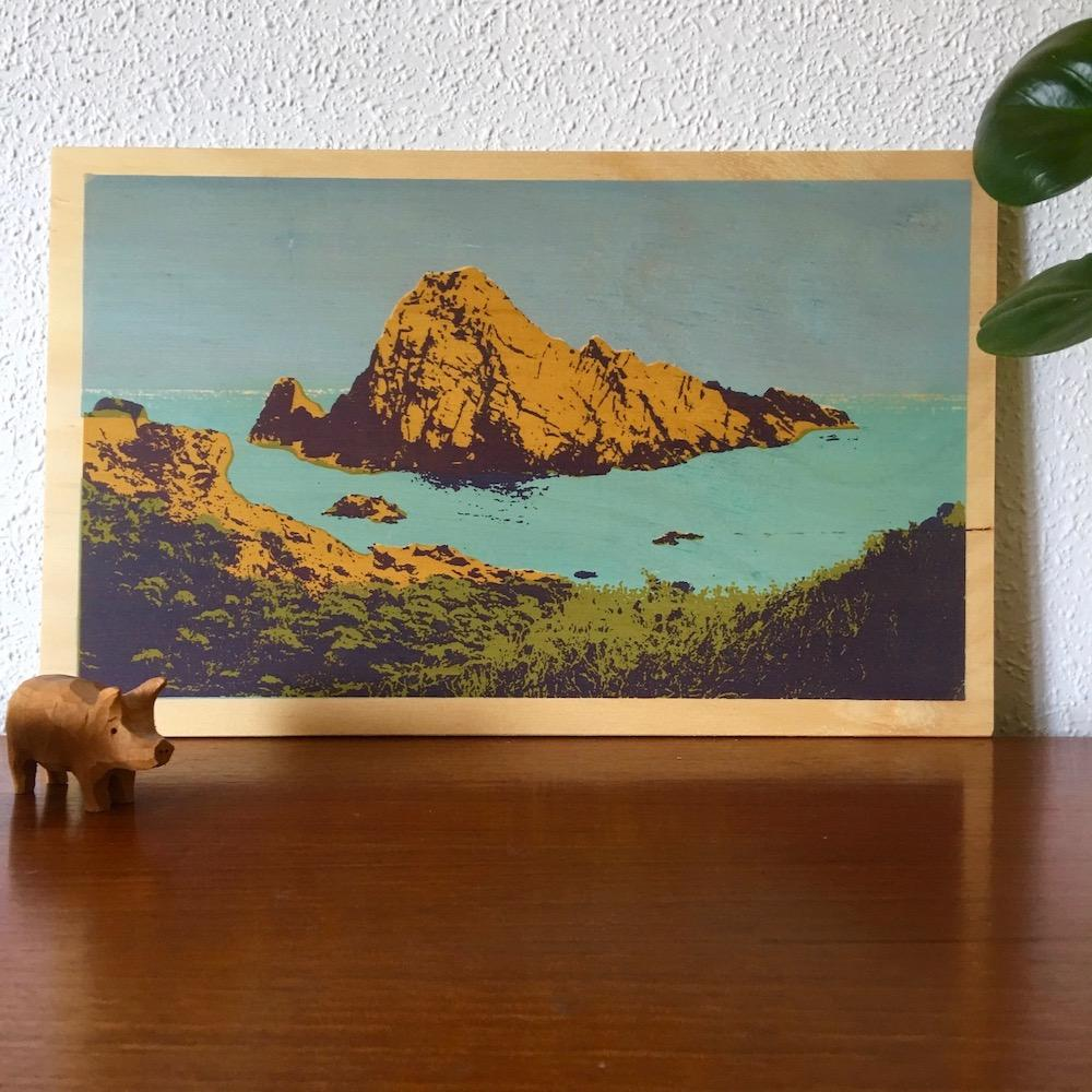 Photo of Sugarloaf Rock at Yallingup, Western Australia screenprinted on plywood.