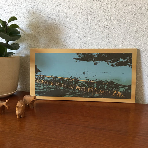 Photo of The Basin at Rottnest Island, screenprinted on plywood.