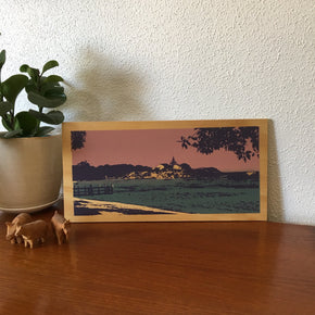 Photo of Bathurst point at Rottnest Island, screenprinted on plywood.