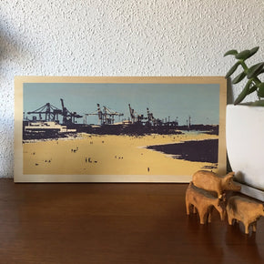 Photo of Leighton Beach to Fremantle Harbour screenprinted on plywood.