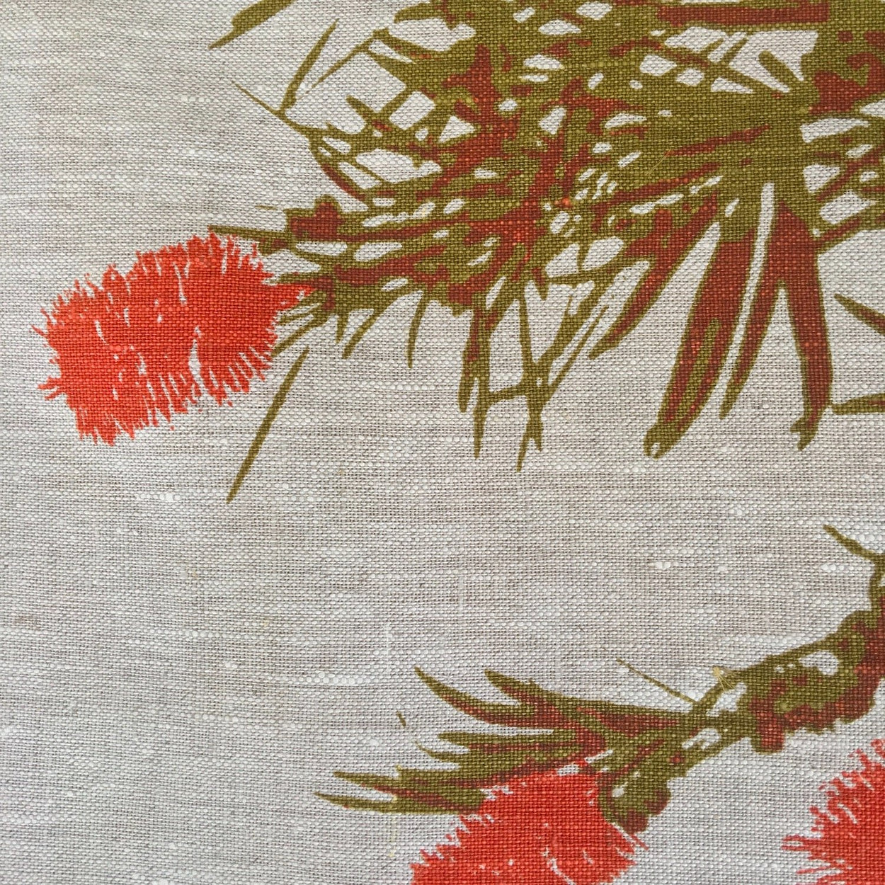 Photo of a Bottlebrush screenprinted on a table runner in close-up.