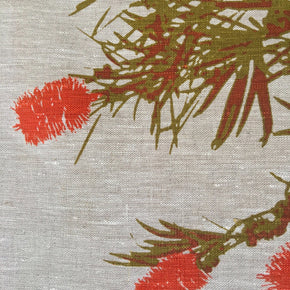 Photo of a Bottlebrush screenprinted on a placemat in close-up.