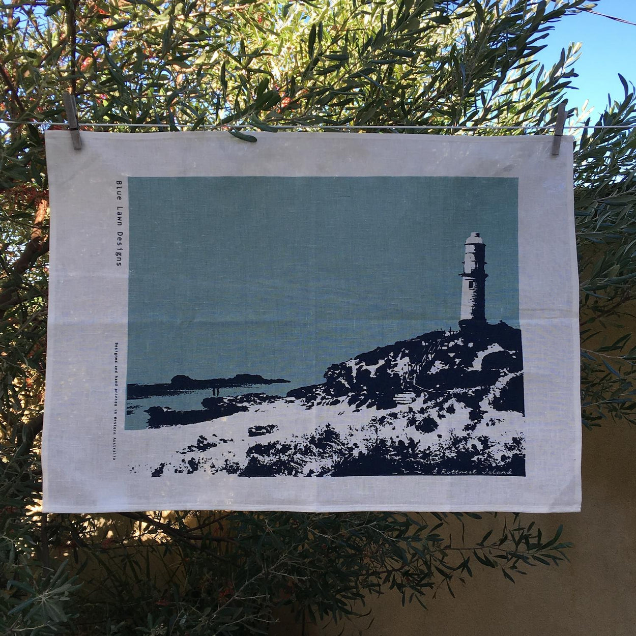 Photo of Bathurst Pt, Rottnest screenprinted on a tea towel.