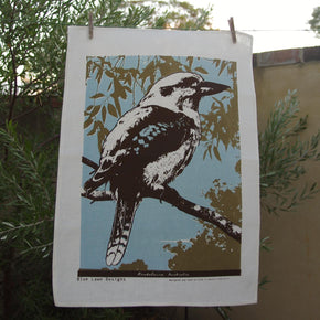 Photo of a Blue-winged Kookaburra screenprinted on a tea towel.