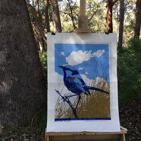 Photo of a Splendid Blue Fairywren on an easel in a forest setting.