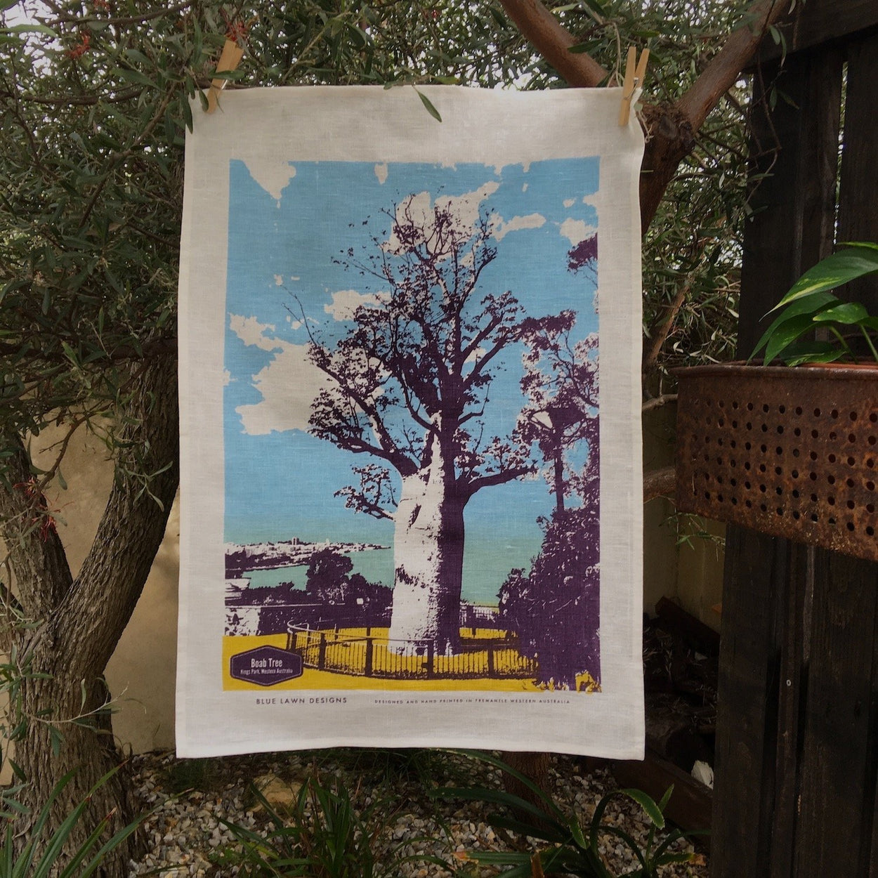 Photo of a Boab tree at Kings Park screenprinted on a tea towel.