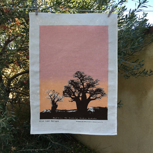 Photo of Boab trees screenprinted on a tea towel.