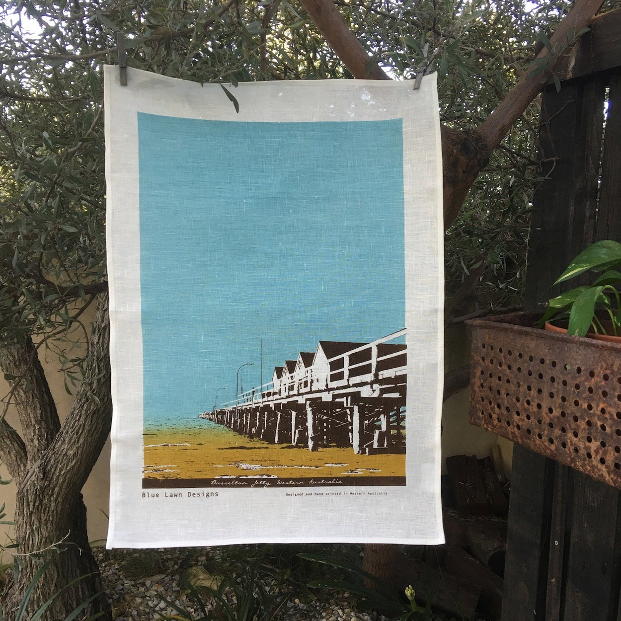Photo of Busselton Jetty screen printed on a tea towel.